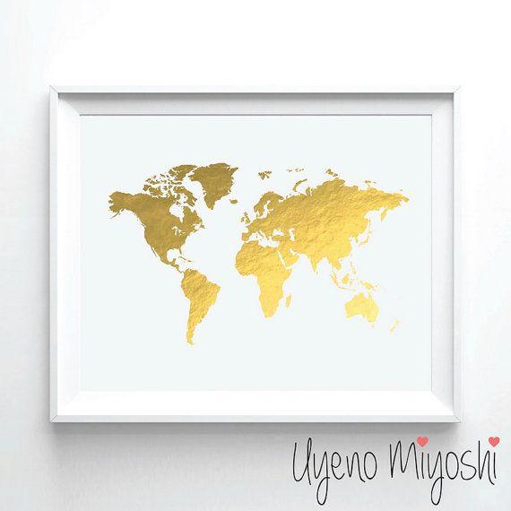World map gold foil print gold print map custom by uyenomiyoshi world map gold foil print gold print map custom by uyenomiyoshi gumiabroncs Gallery