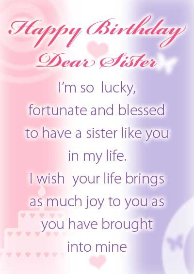Birthday Greeting Sister