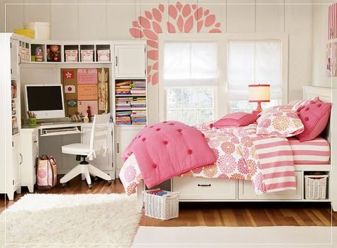 Interior Trendy Curvy White Computer Desk In Nice Teen Room Ideas With Gorgeous Bedding Sets And Pink Wall Art Beautiful Girl Design