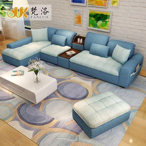 luxury living room furniture modern L shaped fabric corner ...