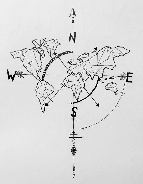 geometric world map compass arrow nautical travel tattoo design by