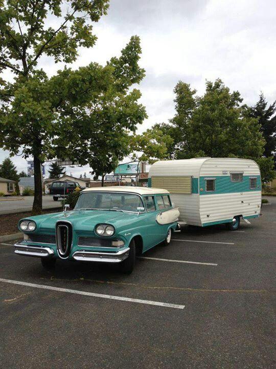 58 Edsel And Camper Vintage Campers Trailers Vintage Camper