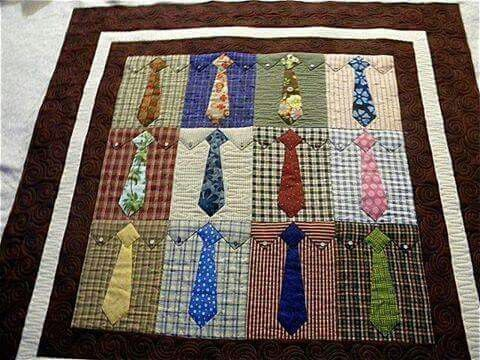 Quilt made with ties and old shirts