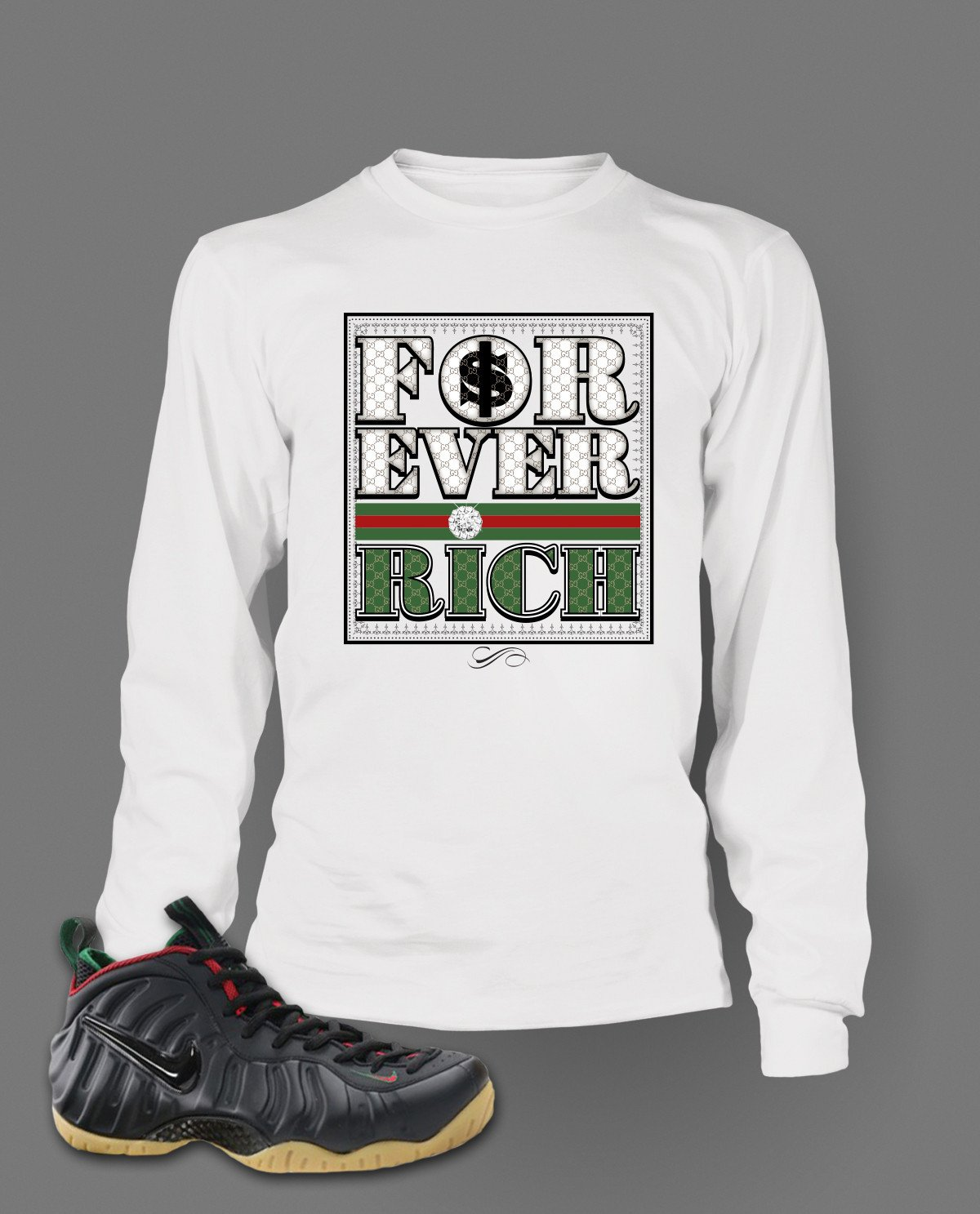 f167b8223c9 Long Sleeve Graphic T Shirt To Match Gucci Black Foamposite Shoes ...