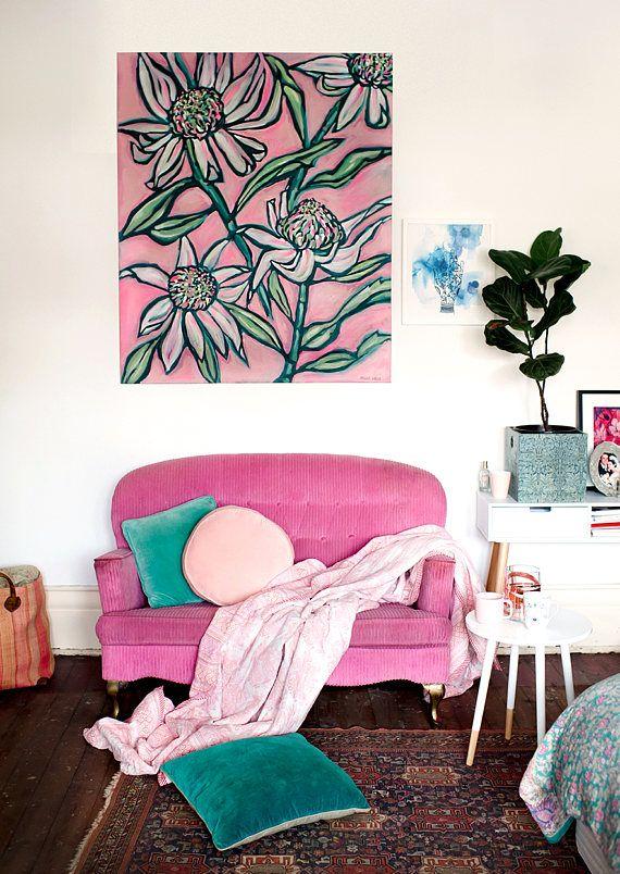 Pink Waratah Painting Archival Wall Art Print botanical illustration ...