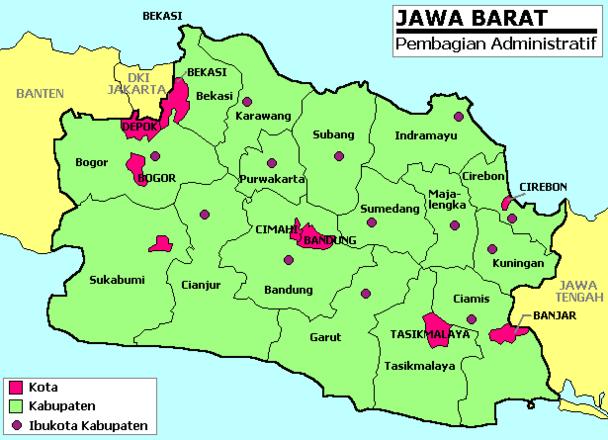 Pembagian Wilayah Di Propinsi Jawa Barat Pedesaan Peta Gambar