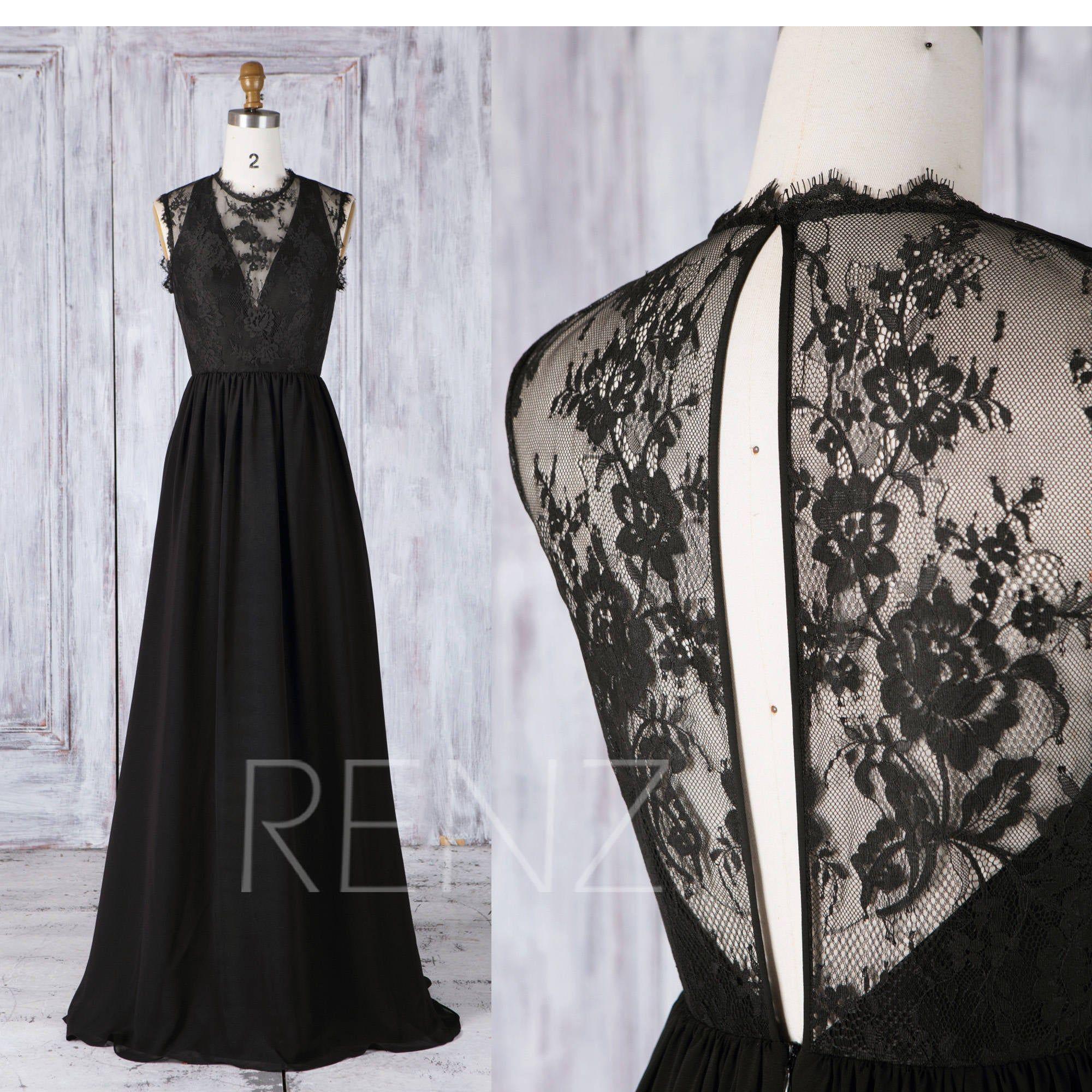 Bridesmaid Dress Black Chiffon Wedding Dress Illusion Deep V Etsy In 2020 Black Bridesmaid Dresses Party Dress Long Black Chiffon Bridesmaid Dresses