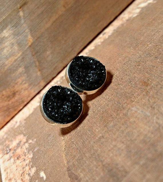 Beautiful Black Druzy Style Stud Earrings by JezebelleJewelz