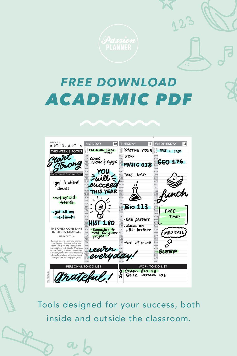 FREE Academic Planner PDF in 2020 Academic planner
