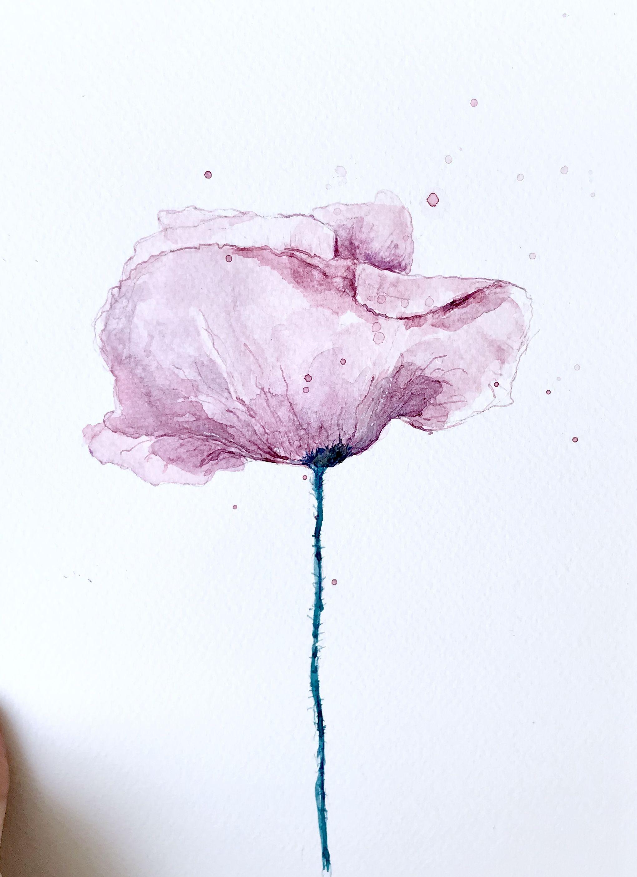 Pink Poppy Flower Watercolour Painting Aquarell Ideen Blumen Aquarell Aquarell Malen