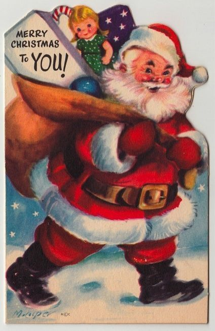 Vintage Greeting Card Christmas Cute 1950s  Marjorie Cooper Santa Claus L331