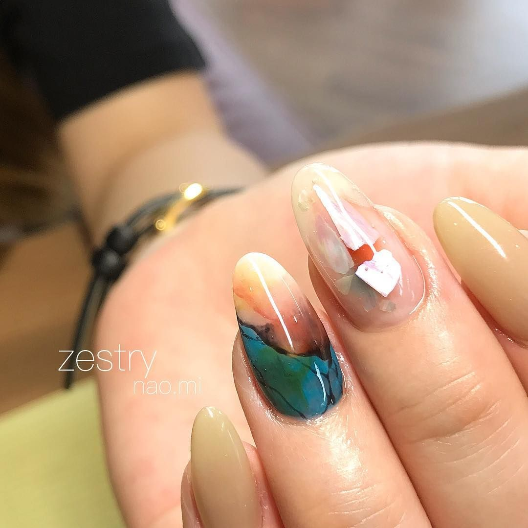 Pin by Ольга on Nails | Pinterest | Almond shape nails, Marble nail ...