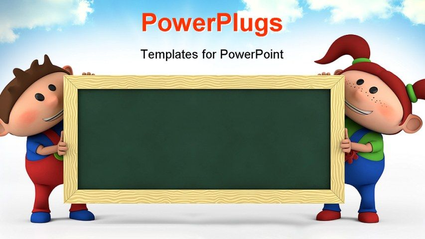 Powerpoint template about education children school projects powerpoint template displaying cute cartoon boy and girl with blackboard education concept with sky in the background toneelgroepblik Images