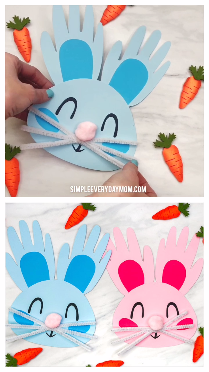 Easter Craft For Kids This easy handprint bunny craft for kids is a fun DIY to make at home or in the classroom Its great for toddlers preschool and kindergarten children...