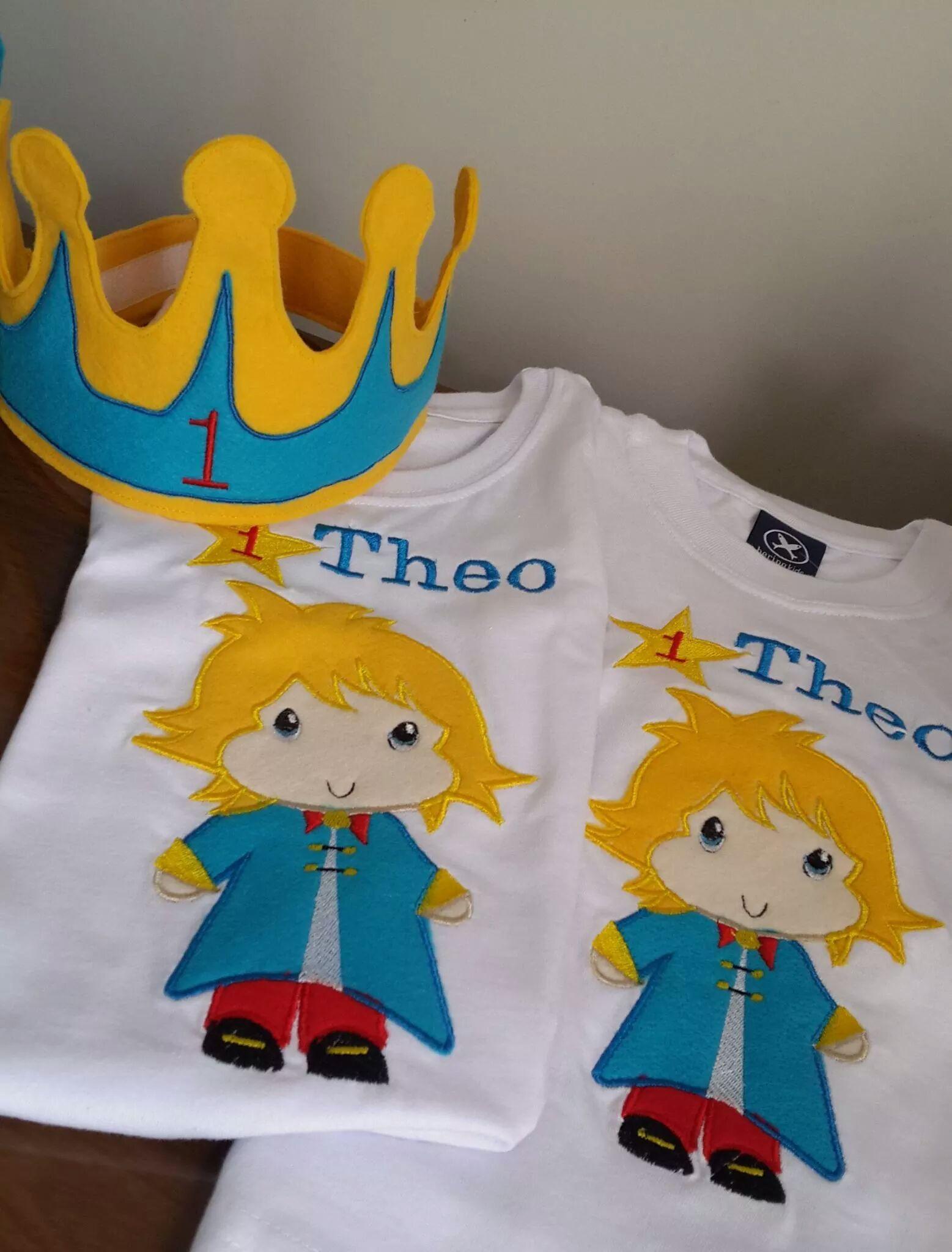 c3e05f6fe84 Coroa em feltro e Camiseta Personalizada Pequeno Príncipe