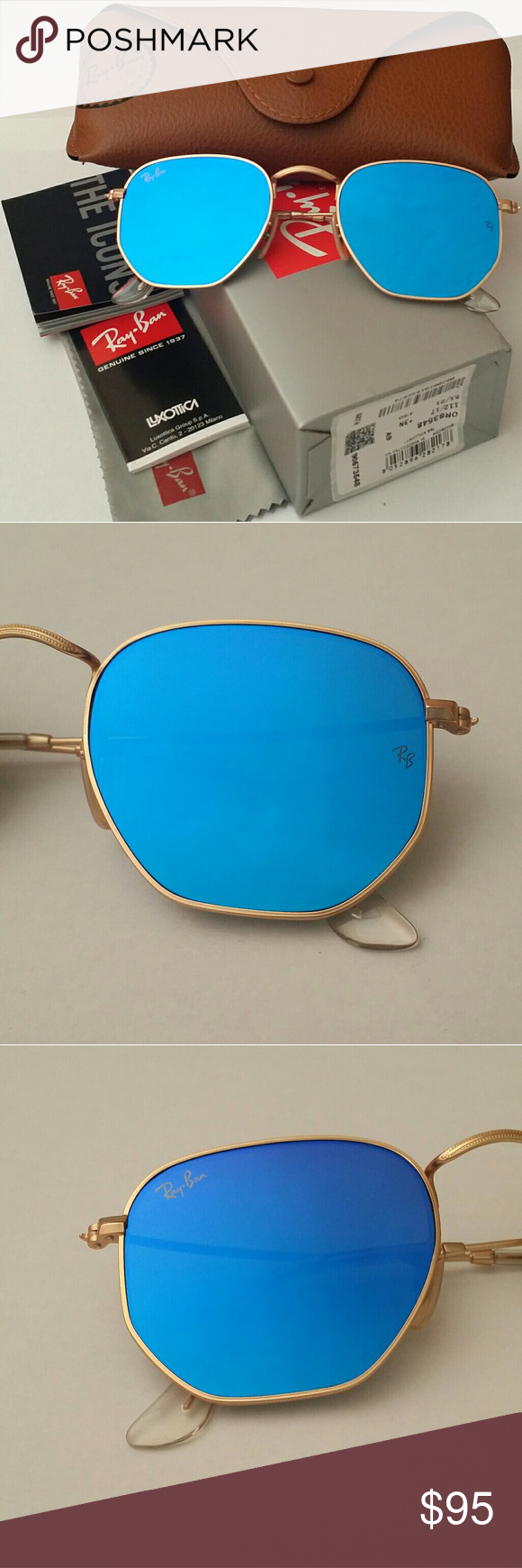 3133063dff Authentic! Ray-Ban Hexagonal 3548 112 17 Blue NO LOW BALL OFFERS! NO ...