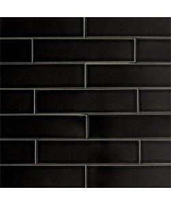 Clayhaus 2x8 Licorice Matte Black Ceramic Tile Colorful Modern