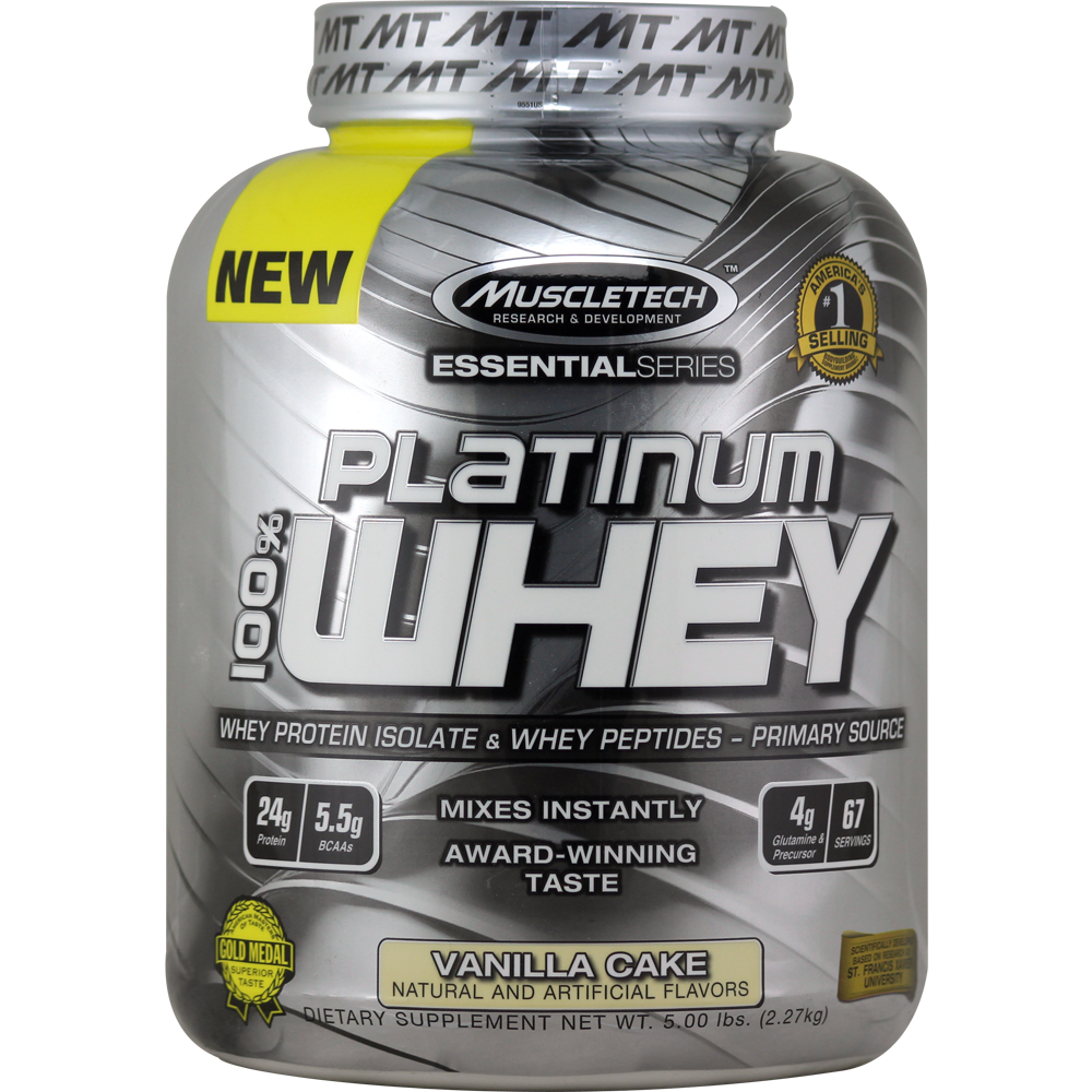 Muscletech Essential Series 100 Platinum Whey Protein Vanilla Cake 5 Lbs Muscletech Supplements Whey Protein