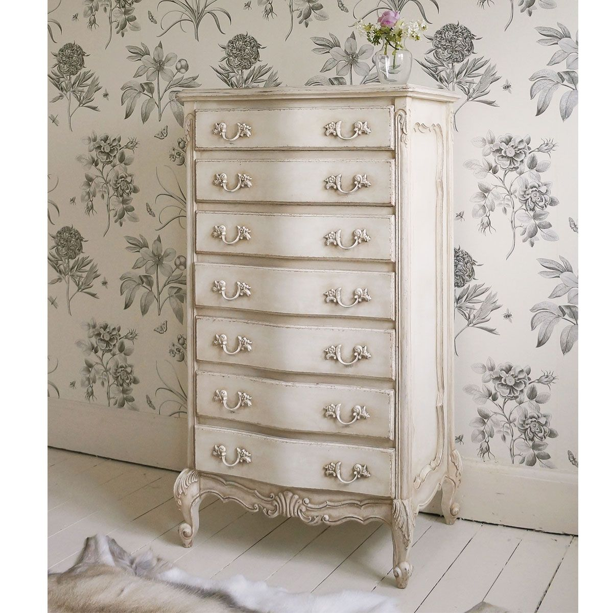 Delphine Shabby Chic Antique White Tallboy by The French Bedroom Company - Delphine Distressed Shabby Chic White Tallboy Chest Shabby