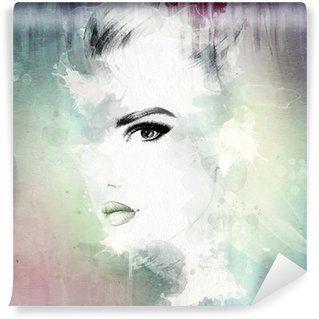 Vinyl Fototapete Frau Gesicht Abstrakte Aquarell Illustration