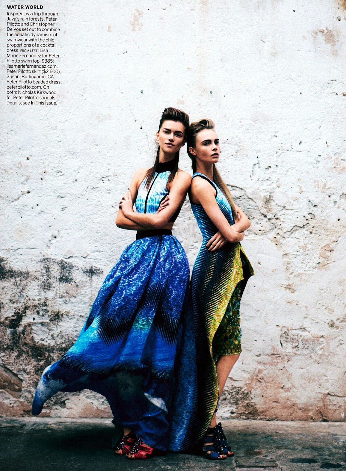 Cara Delevinge and Kasia Struss by Peter Lindbergh for Vogue US