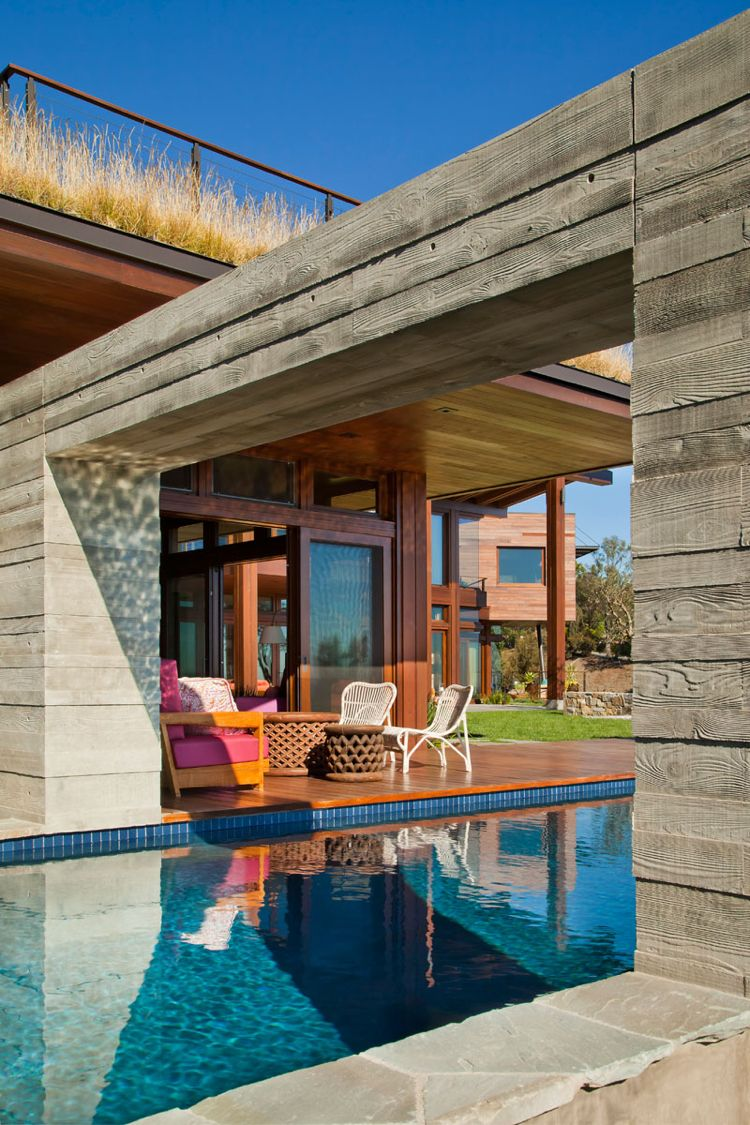Holz Aussen Beton Terrasse Pool Holzdeck #wandverkleidung #house