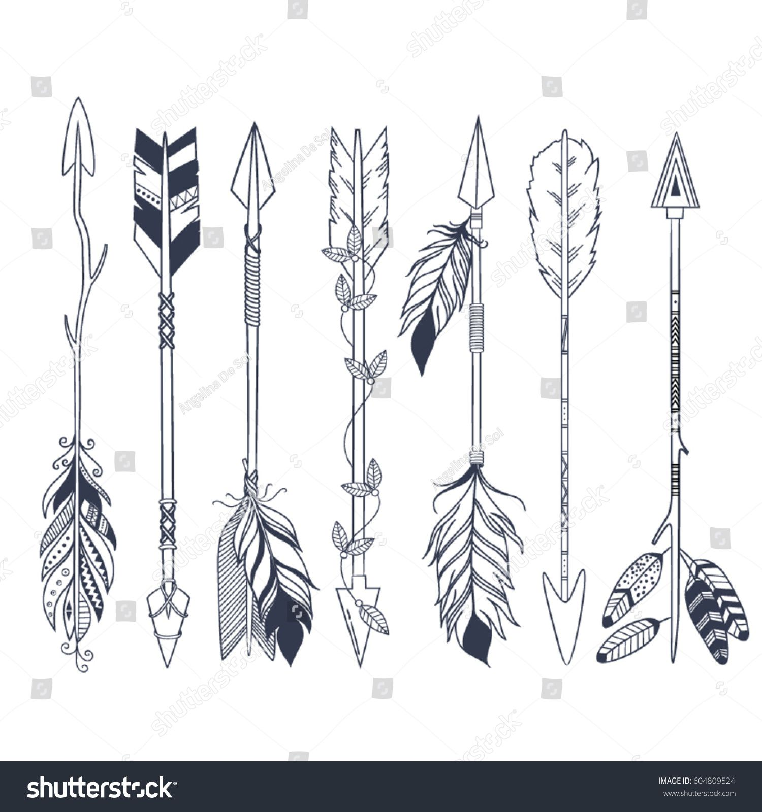 Arrow Set In Native American Indian Style Vector Hand Drawn Hipster
