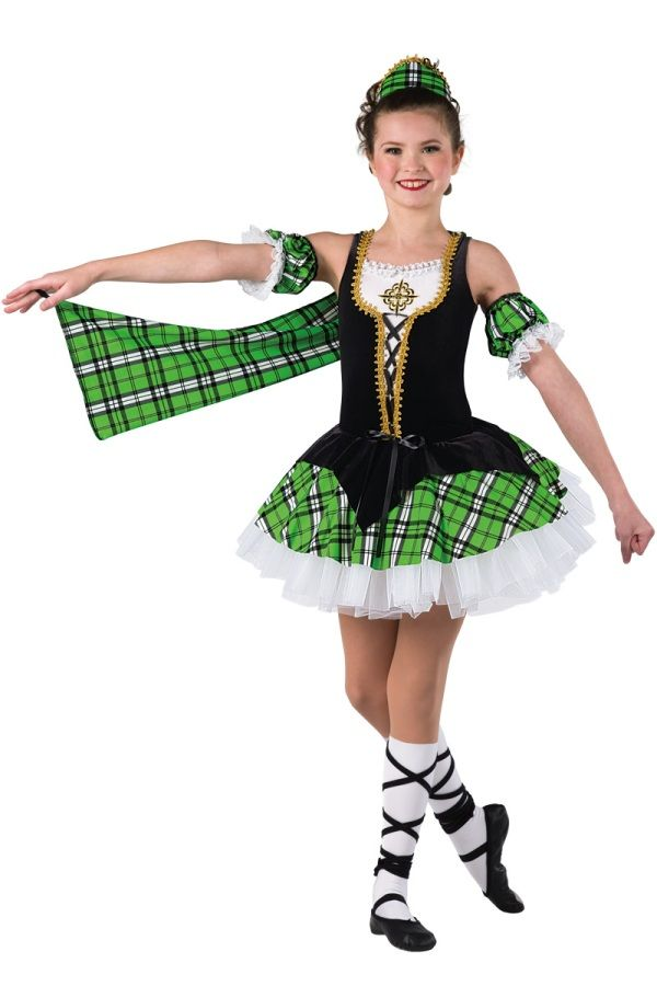 Style # 17250 HIGHLAND LASS Black velvet and white spandex leotard with attached top skirt and kelly plaid printed spandex arm drape. Separate white chiffon tutu with attached matching top skirt. Lace, braid and applique trim. Headpiece, arm poufs, socks, binding ties and ribbon for lacing included. SC-XXLA