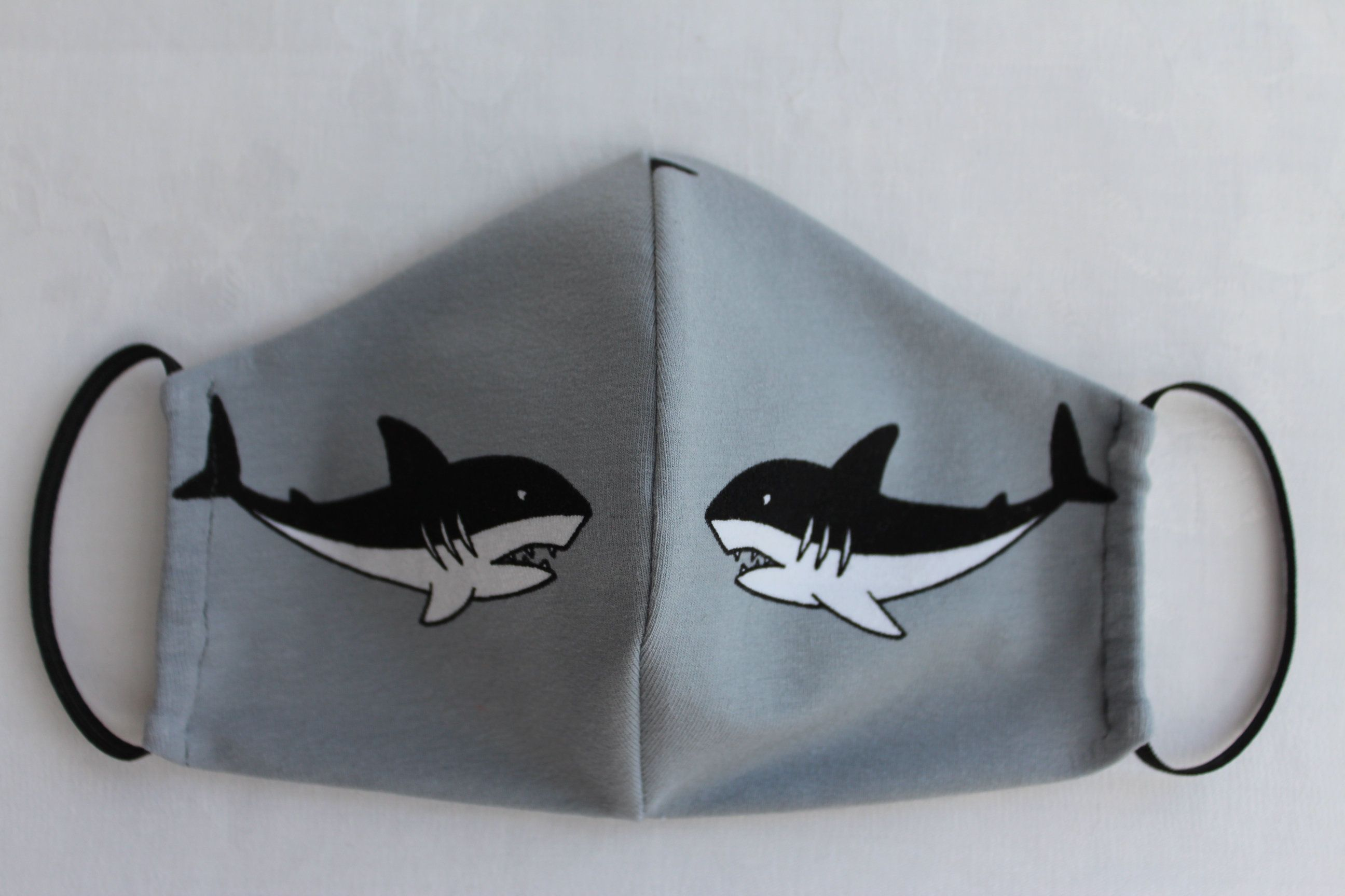 Makeshift Mask Mouthguard Gr S For Kids Student Cotton Jersey Grey Black White Shark Motif Face Mask Nose Cover In 2020 Handmade Pattern Rubber Bands