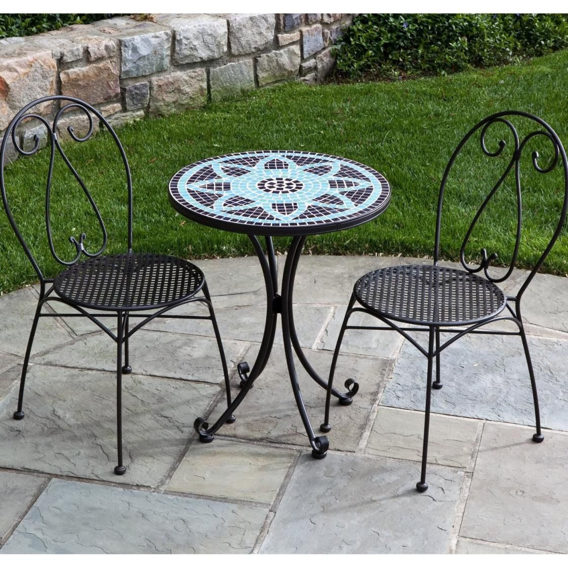 Appealing outdoor patio furniture ideas featuring trendy for Wrought iron cafe chairs