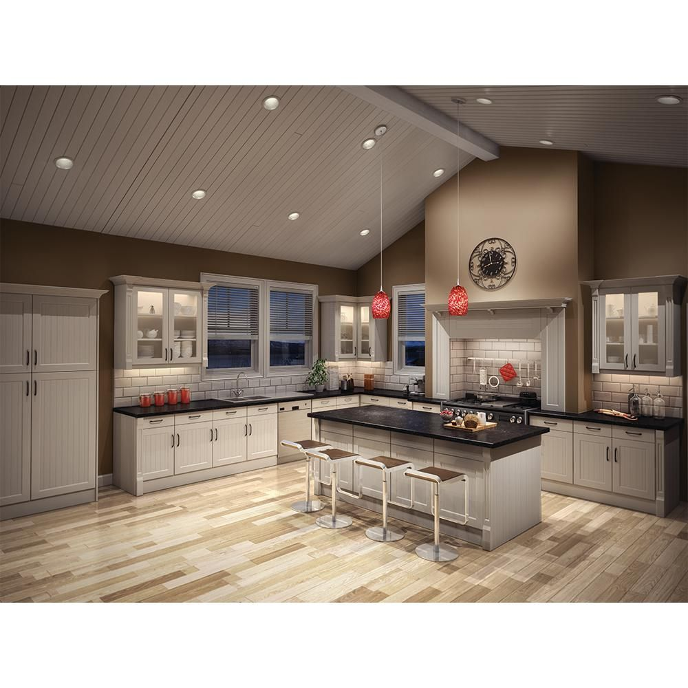 Halo 6 In White Recessed Lighting With Sloped Ceiling Trim With Baffle 456w The Home Depot In 2021 Kitchen Ceiling Lights Vaulted Ceiling Kitchen Led Recessed Lighting