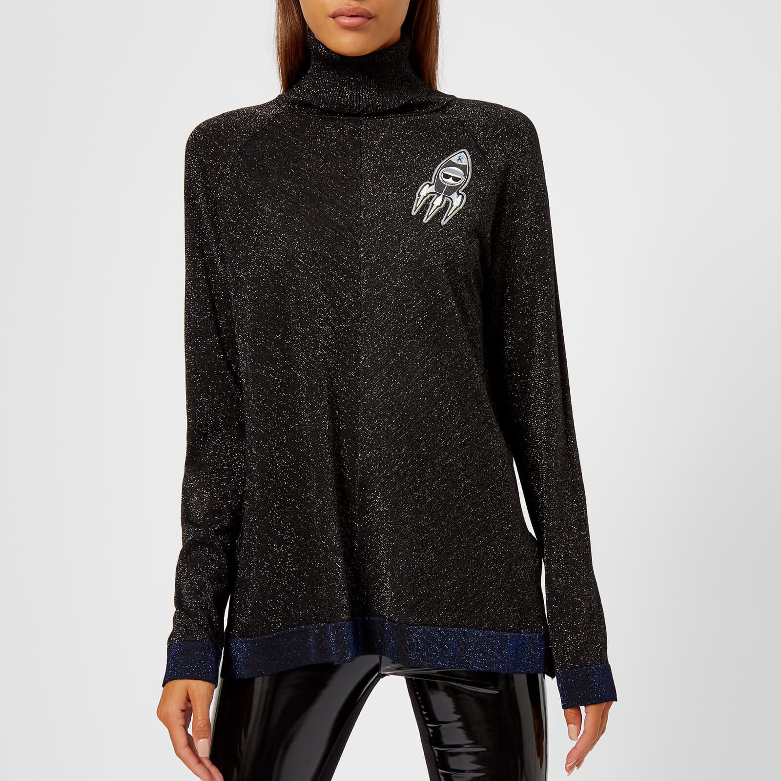 cb5a812d1b Karl Lagerfeld Women s Space Karl Lurex Knitted Jumper with Patches - Black  - Free UK Delivery
