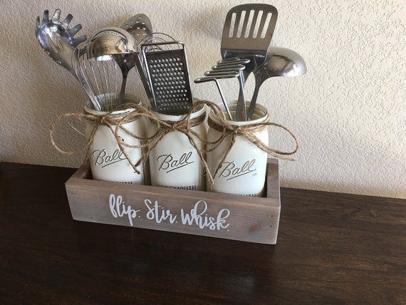 Flip, Stir, Whisk, Kitchen Decor, Utensils Holder, Mason Jar Utensils Holder, Mason Jar Utensils Caddy, Mason Jar Kitchen Decor, Farmhouse