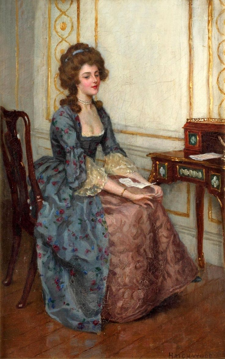 Elegant Lady Daydreaming Charles Haigh Wood British Painter 画家 ドレス