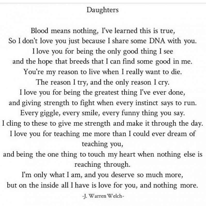 Dads poem about dating his daughter
