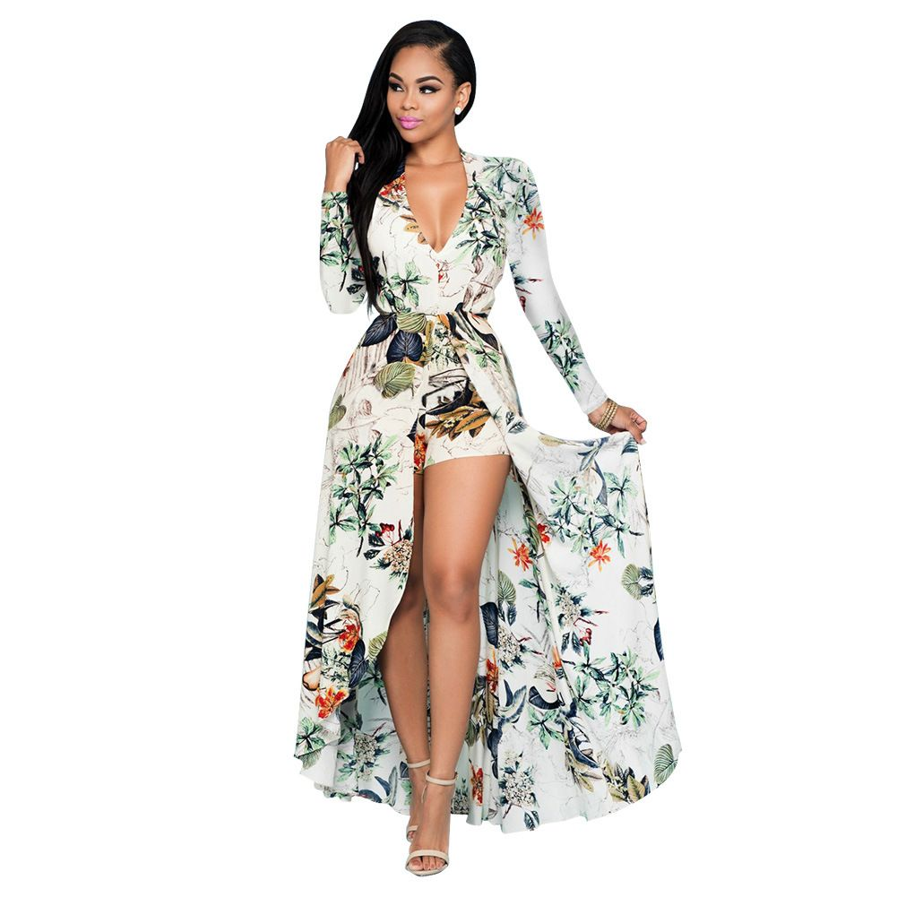 Floral print chiffon plus size dresses long sleeves v neck beach