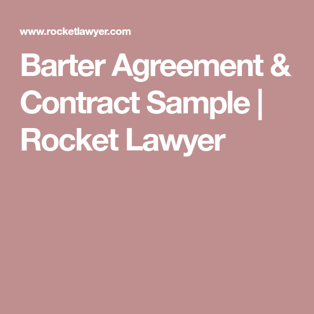 Barter Agreement Contract Sample