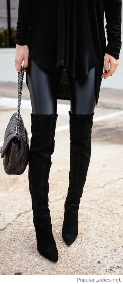 cef0d98a509 Black over the knee boots with leather pants