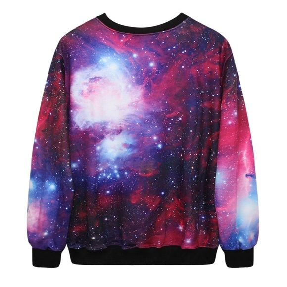 Fluffy Galaxy sweater BNWOT Excellent condition, fluffy on the inside, polyester outside, fits a small to medium, very comfy, only wore once. Unknown brand Brandy Melville Sweaters