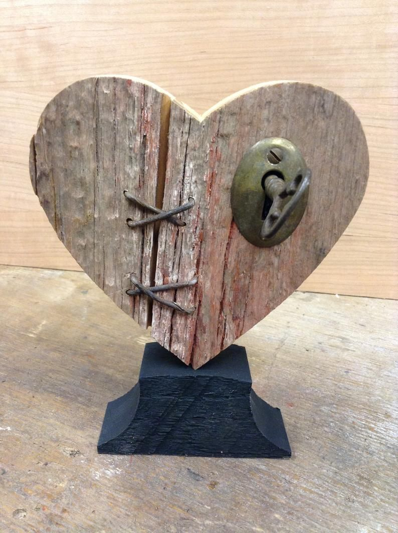 Mended Heart Wood Broken Heart With Vintage Key Rustic