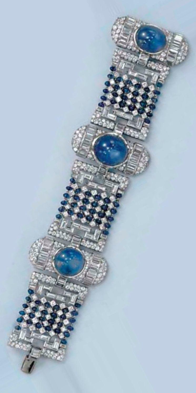An art deco sapphire and diamond bracelet circa designed as