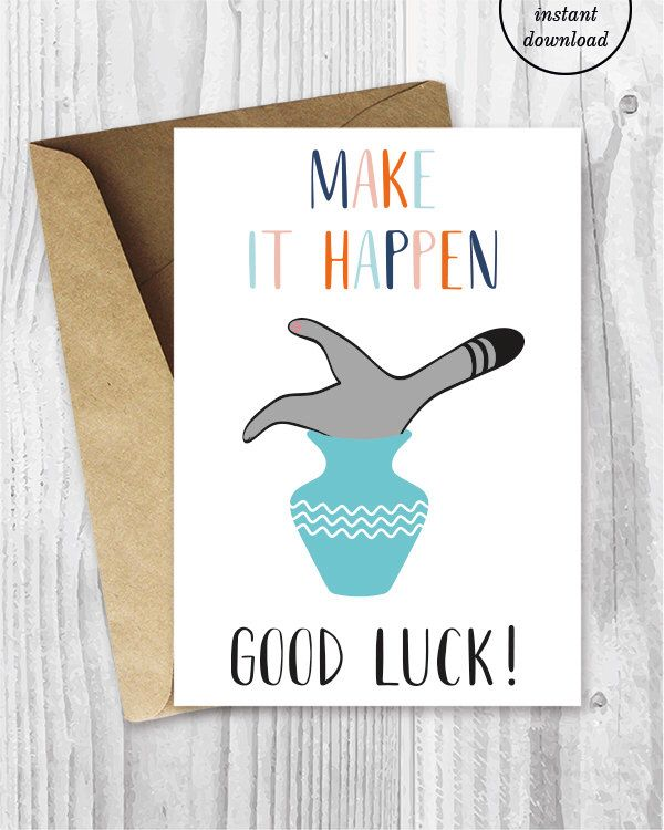 Good Luck Cards Funny Cat Good Luck Printable Cards Make It Etsy Good Luck Cards Printable Cards Encouragement Cards
