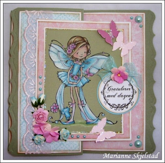 Pretty card with image done on green cardstock