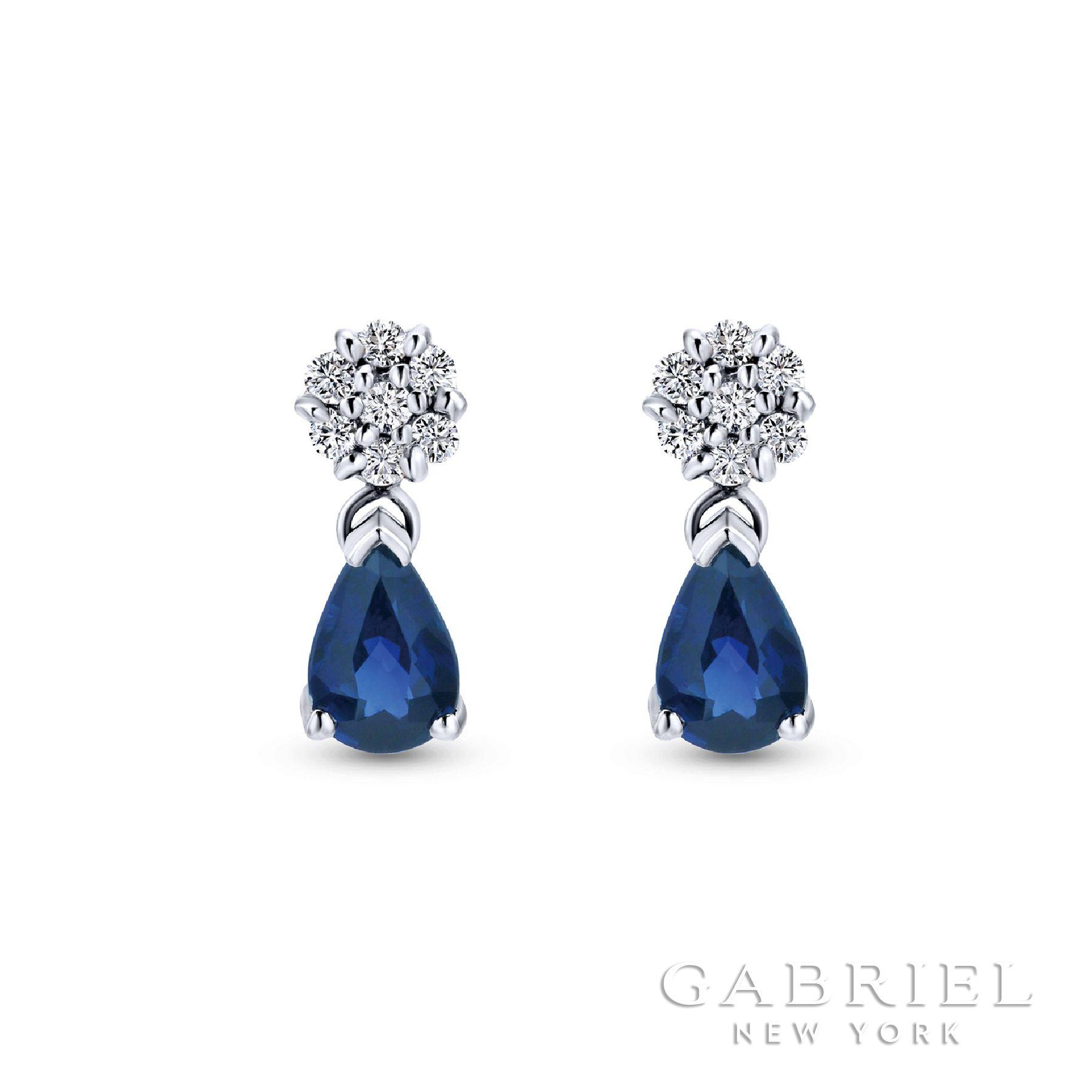 14k White Gold Floral Diamond Pear Shaped Sapphire Stud EG647W45SB