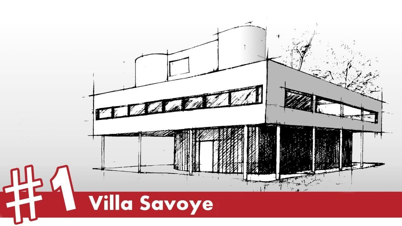 Villa savoye perspective drawing 1 famous architecture Famous architectural structures