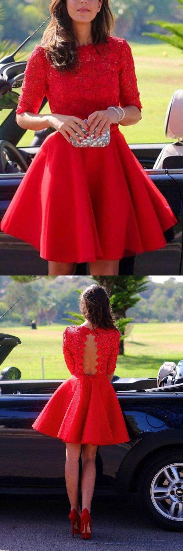 Elegant bateau aline half sleeves short red lace homecoming dress