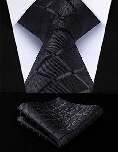 HISDERN Paisley Floral Tie Woven Classic Mens Necktie /& Pocket Square Set