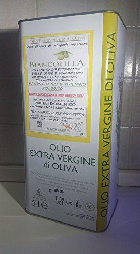olio extravergine di oliva biologico SICILIANO varietà biancolilla litri 5 lattina allumino sigillata EURO 56,00