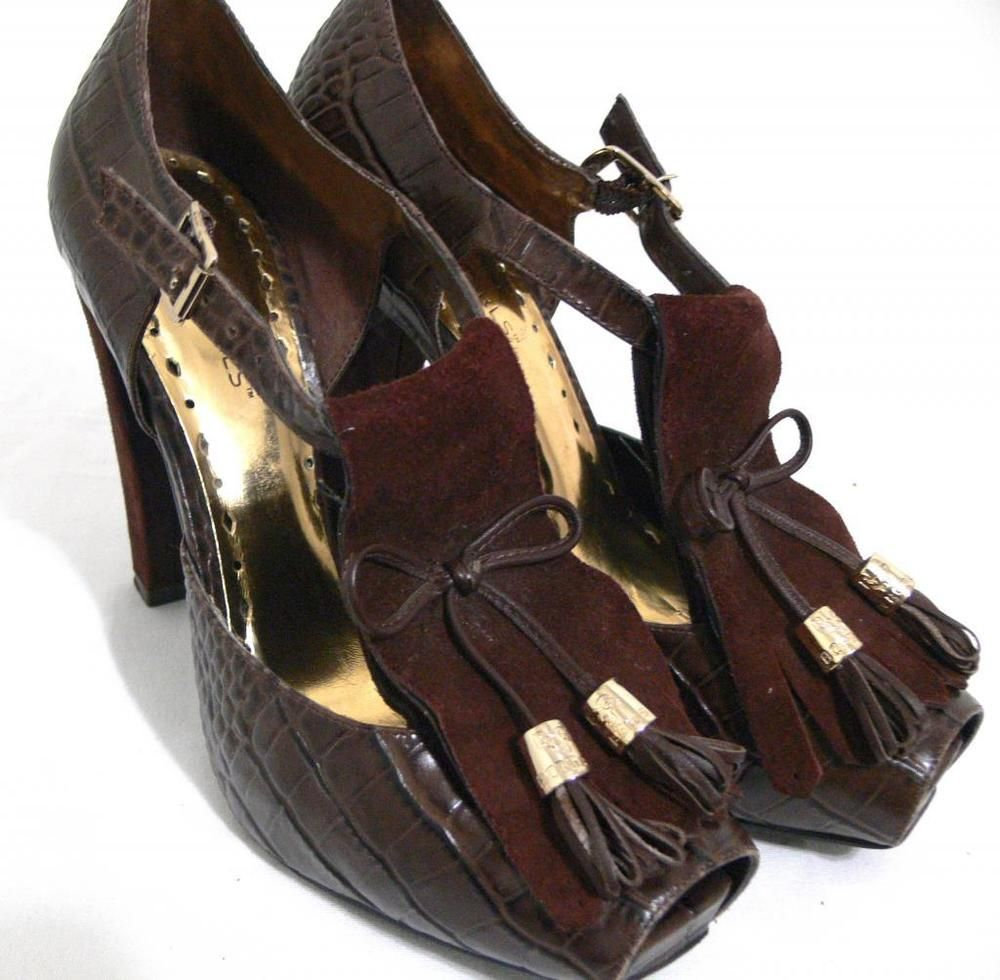 BCBGGirls Shoes Malaya T Strap Platform Croc Embossed