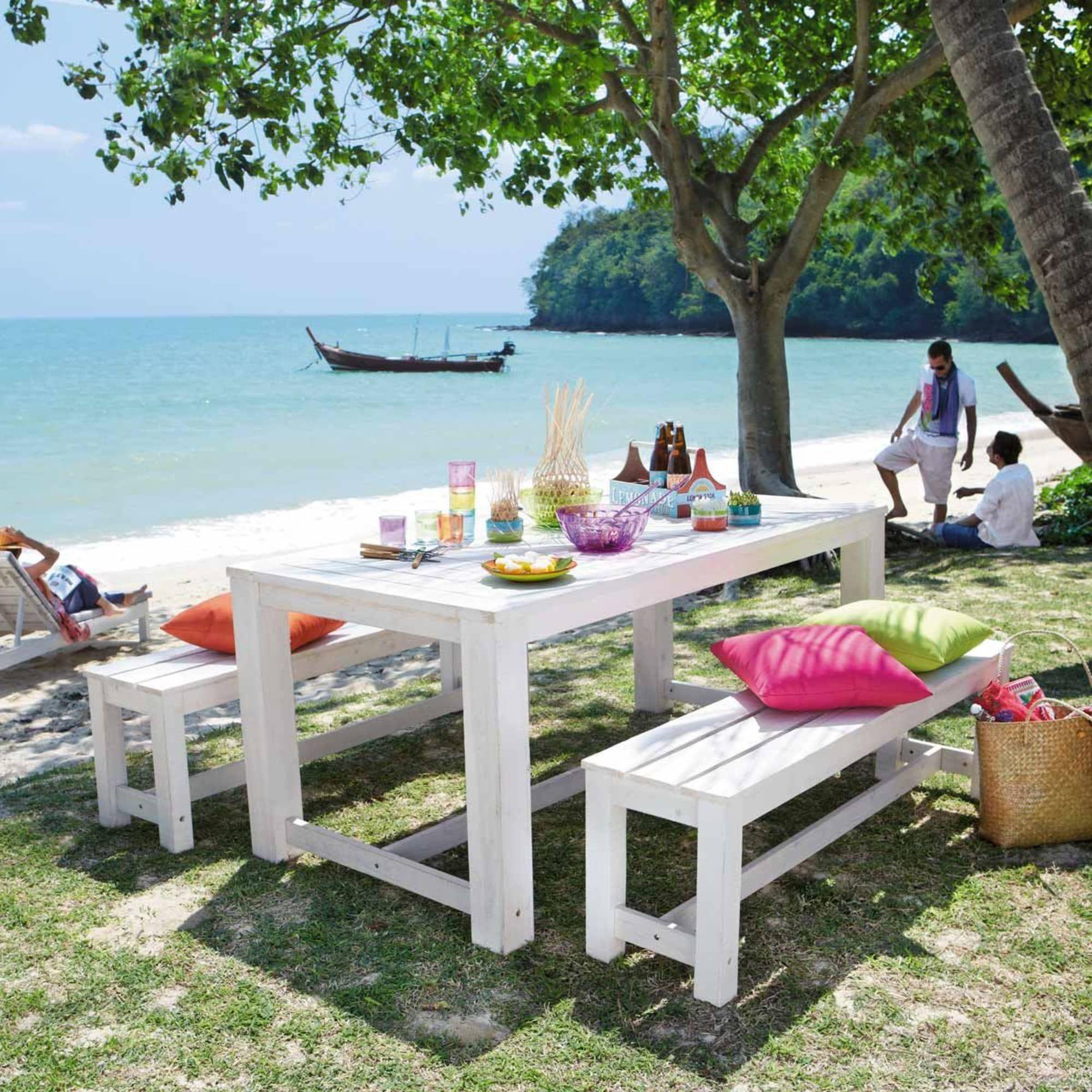 Tavolo Legno Bianco Esterno.Wooden Garden Table 2 Benches In White W 180cm Mit Bildern